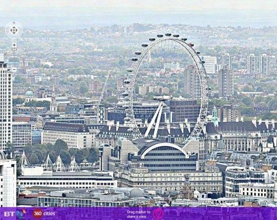 Ein Bild von 320 Gigapixel Panoram von London der BT