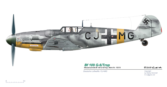 Bf-109-G-6-Trop-W-Nr-18319-CJ-MG