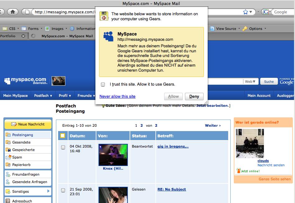 Screenshot MySpace Google Gears Alert