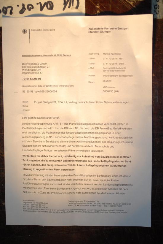 Brief Stuttgart 21