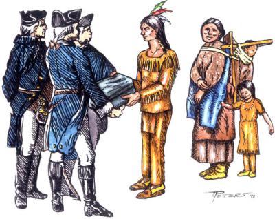 Zeichnung von der Übergabe der mit dem Pockenvirus infizierten Decken an die Indianer