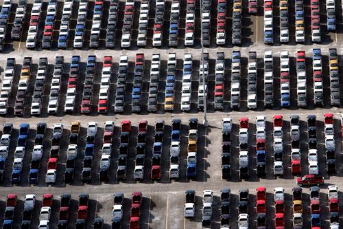 Ford Trucks in Detroit auf Halde