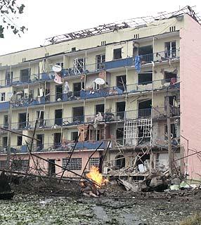Gebäude in Gori nach russischem Luftangriff