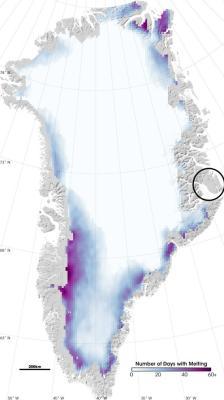 Grönland Erwärmung Überblick - Kartenausschnitt