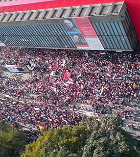 Kundgebung der streikenden Lehrer des Staates São Paulo in der Hauptstadt
