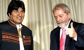 Morales und Lula in Santiago