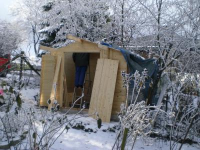das leben in der eifel winter im eifelgarten seidenh hner im schnee. Black Bedroom Furniture Sets. Home Design Ideas