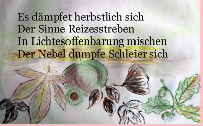 Wasserfarben und Buntstiftzeichnung Blätter eingefügter Wochenspruch