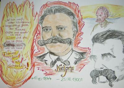 Skizze verschiedener Nietzsche Bilder selbst gezeichnet
