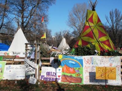 Das Tipi Indianercamp monatelang Wohnungs- und Hoffnungsstaette der S21-Gegner.