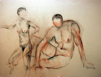paar-7-mann-sitzend-frau-stehend-pastellkreide