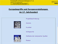 Screenshot der Webseite Europaquellen