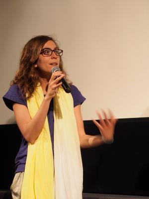 Regisseurin Hind Meddeb bei der Österreich-Premiere von Electro Chaabi in Linz, 26.4.2014