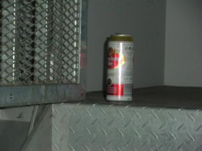 illegale Bierdose <br /> Verbindungsstiege Mediendeck - Freideck<br /> 25.4.2012 <br /> ca. 01:35h