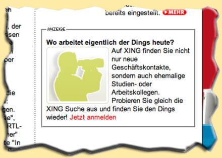 Xing-Werbung - Wo arbeiten eigentlich Herr Dings und Frau Bums?
