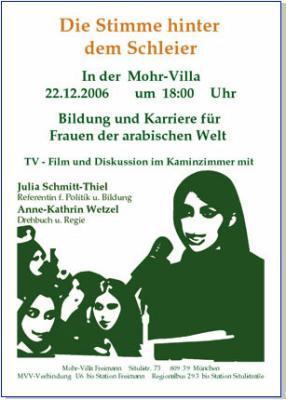 """Veranstaltungs-Plakat """"Die Stimme hinter dem Schleier"""""""