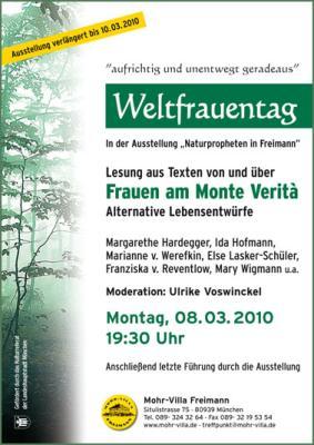 Plakat Weltfrauentag 2010 - Lesung - Frauen am Monte Verita