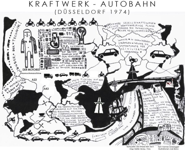 kraftwerk - autobahn illustration by zoe blanc. concept and words by both of us