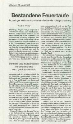 SZ Artikel Kulturzentrum Trudering und Julia Schmitt-Thiel