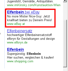 No more Mr. Nice-Guy: Elfenbein bei ebay