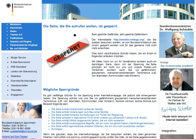 Websperren-Hinweis in Deutschland