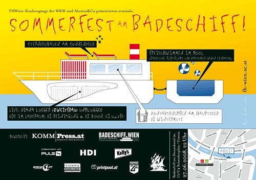 Sommerfest am Badeschiff Flyer: Heck, Design: Harald Weber