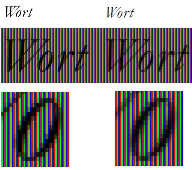 Vergleich normales Antialiasing (links) und Subpixel-Antialiasing (rechts)