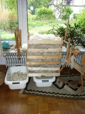 Wolle nach dem Waschen