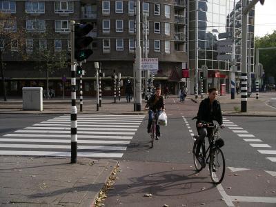Doppelspur-Radstreifen in Rotterdam