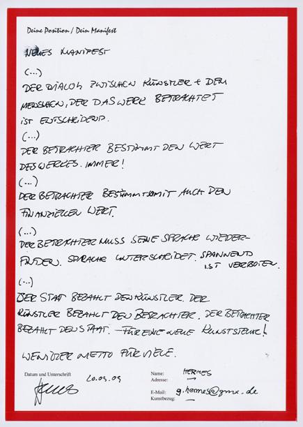 Manifest von G. Hermes