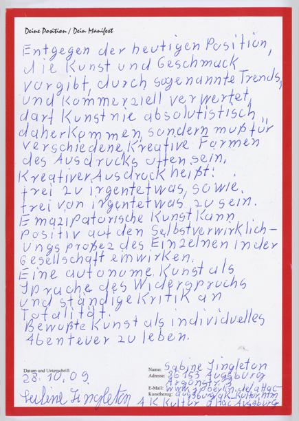 Manifest von Sabine Singelton