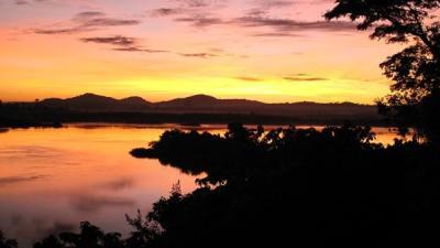Sunrise over the river Nile, Bujagali Falls, Uganda