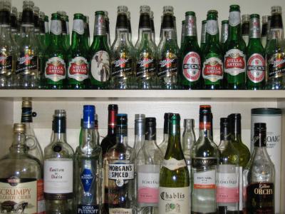 Leere Flaschen, Bier, Wein, Wodka, Cider und Whiskey