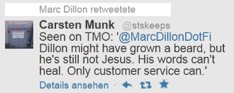 Retweetet von Marc Dillon: Seen on TMO: @MarcDillonDotFi Dillon might have grown a beard, but he's still not Jesus. His words can't heal. Only customer service can.