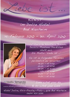 Poster zur Kunstausstellung der Künstlerin Jemanda im Hotel Dolce