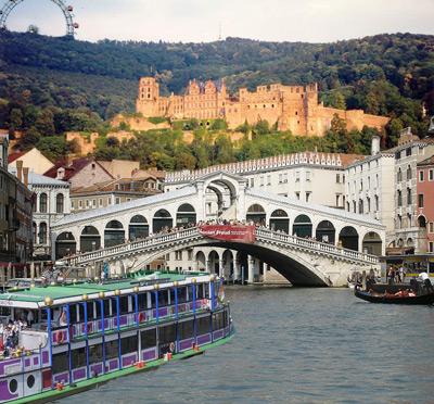 Wien, Venedig und Heildelberg fröhlich vereint auf einem Bild. Auf zum Walzerkarneval unterm Karlstor