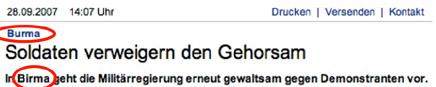 Ausschnitt aus einer Meldung auf sueddeutsche.de