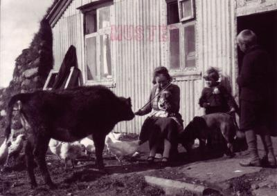 Postkartenabo.ch | Freundschaft darf nicht gratis sein<br /> A woman playing the violin outside a farmhouse around 1920<br /> VERTRAULICHE RAUBKOPIE | Photo &copy; by Magnus Olafsson, Lesstofan.is