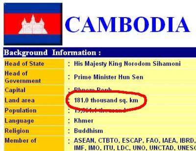 Flächenangabe Kambodschas auf der ASEAN Website