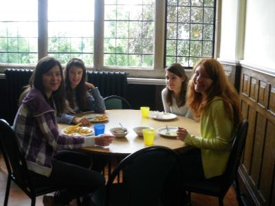 in the cafeteria, having lunch