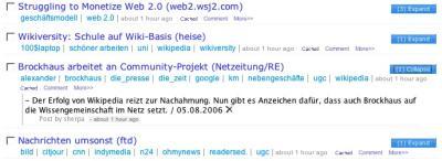 """Ansicht der """"my bookmarks""""-Seite bei diigo.com"""