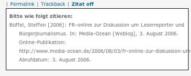 Screenshot eines Zitathinweises von media-ocean.de