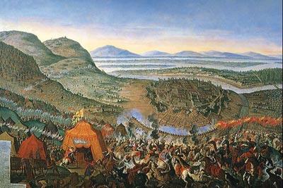 Entsatzschlacht von Wien 1683, Zeitgenössisches Gemälde (F. Greffels)