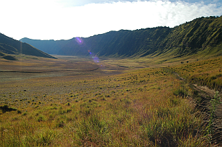 The southern part of the caldera is overgrown by grass