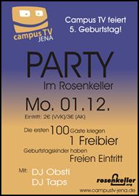 Flyer 5 Jahre Campus TV