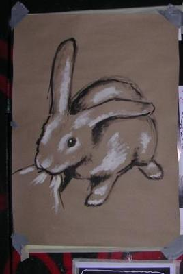 Cute killer rabbit.<br /> By Fluffy Killer Wolf<br /> Acrylics