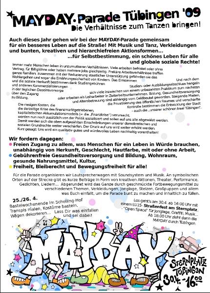 Flyer zur Mayday-Parade 2009 in Tübingen (Rückseite)