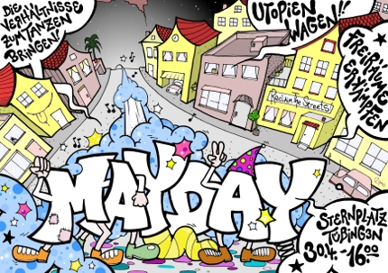 Flyer zur Mayday Parade 2009 in Tübingen