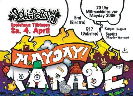 die Soli-Party zur Mayday-Parade am 4. April im Tübinger Epplehaus