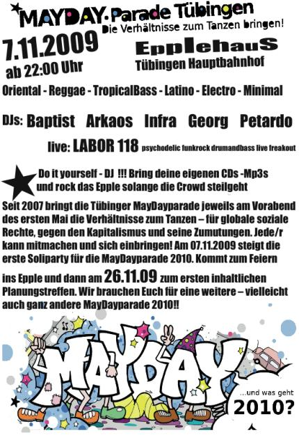 Soli-Party zur Mayday-Parade am Samstag, dem 7.11.